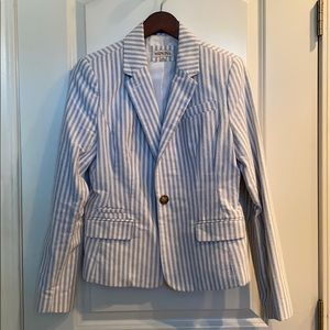 Women's blue/ white striped blazer